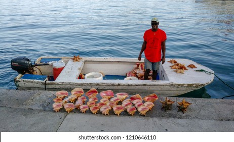 NASSAU, BAHAMAS - CIRCA OCTOBER 2015: Man cleaning conchs to sell in the Bahamas in the summer.