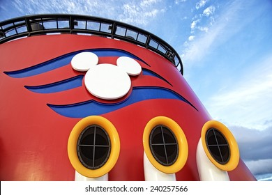 NASSAU, BAHAMAS, DECEMBER 4, 2014: Top of the Disney Cruise Dream, one of the biggest and more fun cruise ships that navigate the Caribbean. The colors and the shape of Mickey Mouse identify the ship.