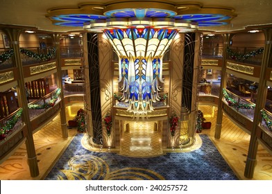 NASSAU, BAHAMAS, DECEMBER 4, 2014: Main lobby of the Disney Cruise Dream, one of the biggest and more fun cruises that navigate the Caribbean Sea, days before Christmas.