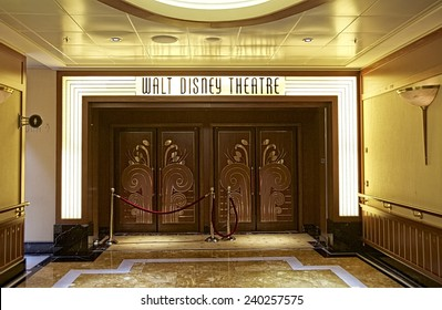 NASSAU, BAHAMAS, DECEMBER 4, 2014: Entrance to the Walt Disney Theatre, one of the main entertainment venues in the Disney Cruise Dream, one of the biggest cruise ships that navigate the Caribbean.