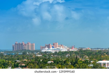Nassau, Bahamas - February 28, 2018:  Cruise ships anchored in the Port of Nassau, an island filled with resorts and cruise ship passengers.