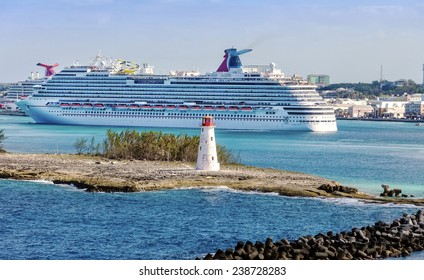 NASSAU, BAHAMAS - JAN. 13, 2013: Carnival Dream entering the port of the Bahamas. At 130,000 tons, the ship is the largest to date for Carnival Cruise Lines.