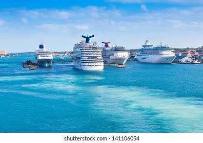 NASSAU, BAHAMAS - JAN. 13:  Carnival Cruise Lines, and other cruise lines, in port on Jan. 13, 2013.  Many cruise lines frequents the Bahamas as it's one of the world's most famous travel destination.