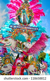 NASSAU, BAHAMAS - JANUARY 1: Colorful costume from Bahamas Junkanoo depicts Elephant Nation in Nassau, Jan. 1, 2011
