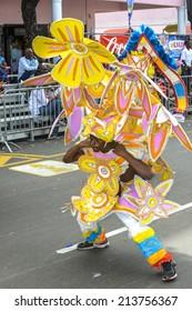 NASSAU, THE BAHAMAS - JANUARY 1: Dancer in traditional costume at Junkanoo Festival on January 1st 2014 in Nassau, the Bahamas