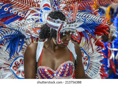 NASSAU, THE BAHAMAS - JANUARY 1: Dancer in traditional costume at Junkanoo Festival on January 1st 2014 in Nassau, the Bahamas