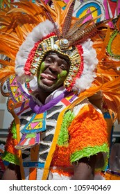 NASSAU, THE BAHAMAS - JANUARY 1 - Entertaining male dancer who represents the sun, in Junkanoo, street festival in Nassau on January 1, 2011