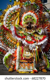 NASSAU, THE BAHAMAS - JANUARY 1 - Male troop leader dances in Junkanoo, a cultural festival on Jan 1, 2011 in Nassau