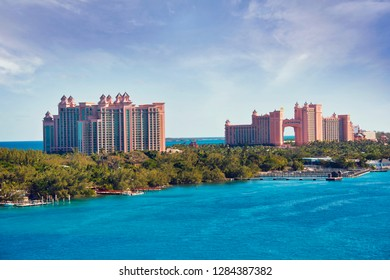 NASSAU, BAHAMAS - January 7 ,2019. The Atlantis Paradise Island resort, located in the Bahamas.