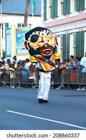 NASSAU, THE BAHAMAS - July 6 - Dancing man in pirate costume, performs in a traditional island cultural festival in Nassau, July 6, 2014