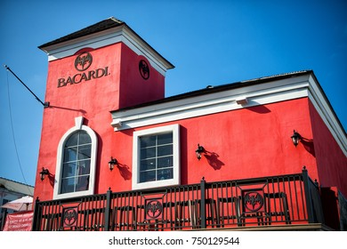 Nassau, Bahamas - March 09, 2016: bacardi store building with red walls on sunny day on blue sky. Distillery tour, vacation, travelling concept