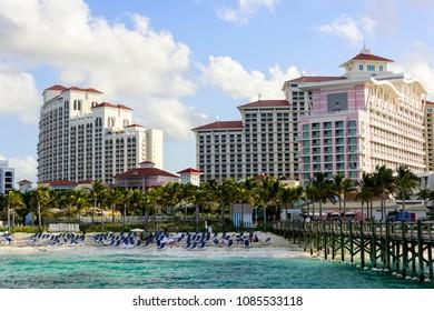 Nassau, Bahamas - March 1, 2018:  Tourists enjoying their vacation on the beach in Nassau, Bahamas.