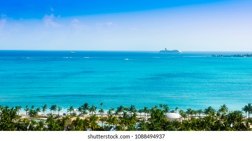 Nassau, Bahamas - March 2, 2018:  Cruise ship entering Port of Nassau on the caribbean island of the Bahamas.