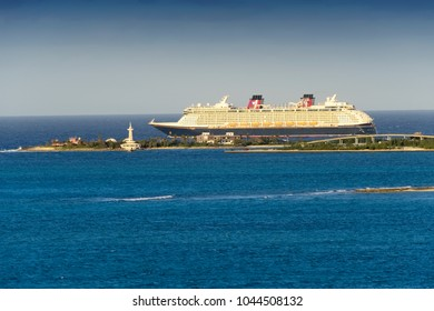 Nassau, Bahamas - March 3, 2018:  The Disney Cruise Ship, Dream, departs from the port of Nassau in the Bahamas.