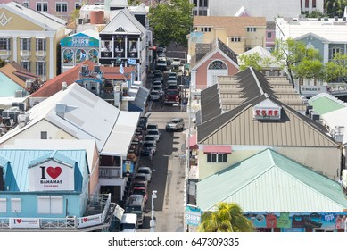 Nassau Bahamas, May 16, 2017: Tourist district in the city of Nassau, Nassau Bahamas, May 16, 2017