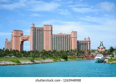 Nassau, Bahamas - MAY 2, 2018: The Atlantis Paradise Island resort, located in the Bahamas