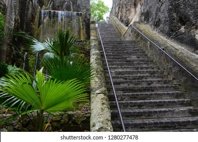 Nassau, Bahamas - MAY 7 2018: Queen's Staircase one of the most popular tourist places in Nassau