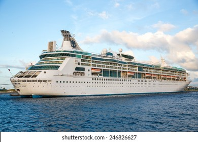 Nassau, Bahamas - November 12: View of cruise ships docked in Nassau, Bahamas on November 12, 2014.