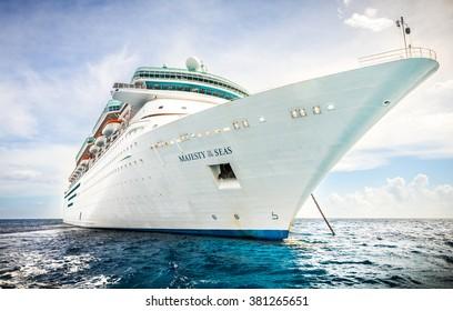 NASSAU, BAHAMAS - SEPTEMBER, 06, 2014: Royal Caribbean's ship, Majesty of the Seas, sails in the Port of the Bahamas on September 06, 2014