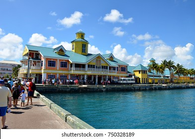 Nassau, Bahamas - September 22, 2017: Passengers disembarking from cruise ships in the port of Nassau. Every week thousands of tourists arrive at the port of Nassau.