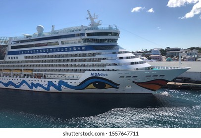 NASSAU, BAHAMAS-NOVEMBER 11, 2019:  AIDA Diva cruise ship at port in Nassau.  AIDA is a German cruise line owned by Carnival Cruise Lines.