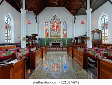 NASSAU, BAHAMAS-September 10, 2018:The interior of the Christ Church Cathedral of Nassau in the Bahamas, built in 1841.