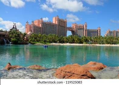 NASSAU-NOVEMBER: Atlantis Paradise Island Nov 1, 2010 in Nassau, Bahamas: The Atlantis hotel, casino& water park, opened in 2007.The bridge suite is the most expensive in the world costing $25,000 USD