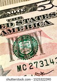 Nassau/NY, USA-Oct 7, 2019: Close up of treasury stamp of fifty dollar bill