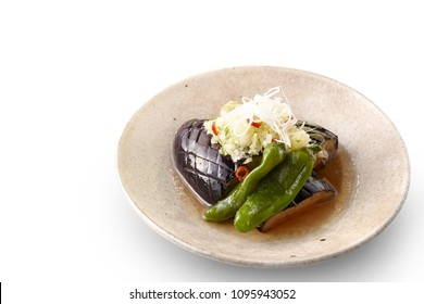 Nasu no Age Bitashi(deep-fried eggplant in Japanese broth)