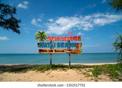 Natai beach sign in Ban Khok Kloi, Phang Nga, Thailand, Asia