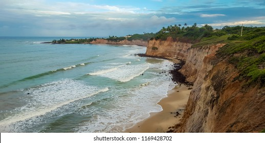 NATAL, BRAZIL - 12 MAY, 2017: seaside view of the beautiful cliffs of Natal