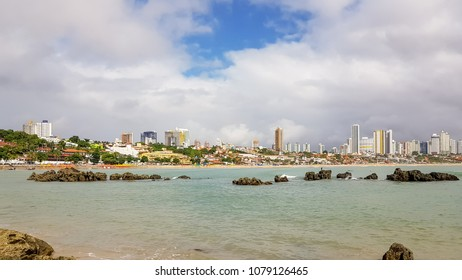 Natal, Brazil. April 2018. Wide view of Ponta Negra Beach, in Natal, one of the most famous tourist attractions in the city.