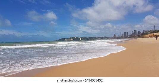 Natal, Brazil - February 11, 2019: the beach of Ponta Negra at Natal on Brazil
