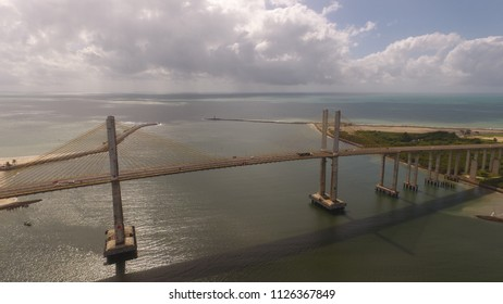 Natal / Rio Grande do Norte / Brazil - Circa June 2018: Aerial view of the bridge Newton Navarro of the city of Natal, RN.