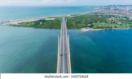 Natal / Rio Grande do Norte / Brazil - Circa May 2019: Aerial view of the bridge Newton Navarro of the city of Natal, RN.