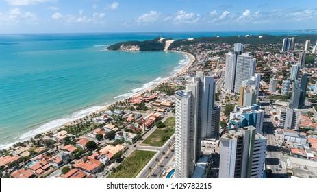 Natal / Rio Grande do Norte / Brazil - Circa May 2019: Beautiful aerial image of the city of Natal, Rio Grande do Norte, Brazil.