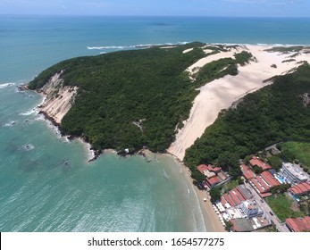 Natal, Rio Grande do Norte / Brazil - 04/03/2017: Aerial view of Morro do Careca (Bald Hill) and Ponta Negra (Black Point) Beach
