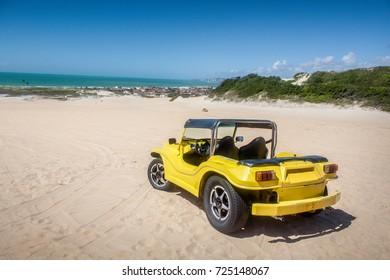 NATAL, RIO GRANDE DO NORTE, BRAZIL - AUG 4, 2017: Beach Sand Quadricycle Buggy Race Car