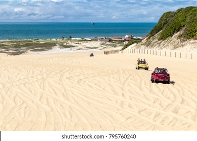 Natal, RN, May 16, 2013: The colored Buggy cars offers rides to the tourists in the sand dunes and beaches, mainly in the north coast. The Service is operated by locally certificated drivers.