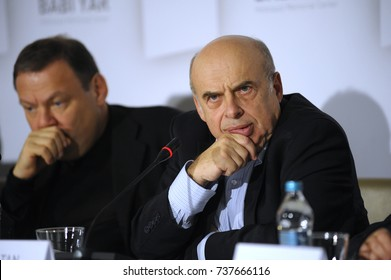 """Natan Sharansky, Chairman of the Executive of the Jewish Agency, keeping speech during press-conference devoted to Memorial center of Holocaust """"Babi Yar"""". October 19, 2017. Kyiv, Ukraine."""