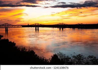 Natchez, Mississippi/United States - October 26 2018: sunset on mississippi river from Natchez