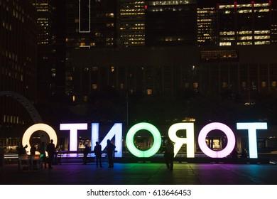 Nathan Philips Square, Toronto Sign, downtown at night, Toronto, Ontorio. TORONTO,CANADA-NOVEMBER 01, 2016: