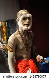 Nathdwara, Rajasthan, Gujarat, India- Asia, Nov, 2007 : Portrait of Indian man beggar with cotton makeup look like monkey new idea of Begging money