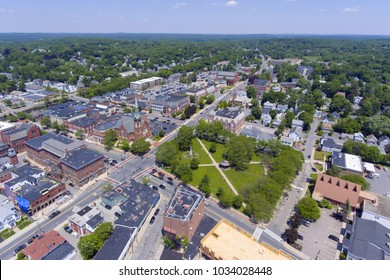 Natick First Congregational Church, Town Hall and Common aerial view in downtown Natick, Massachusetts, USA.