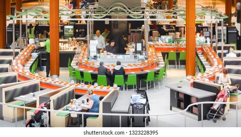 Natick, MA, USA - May 2, 2012: Conveyor belt sushi restaurant