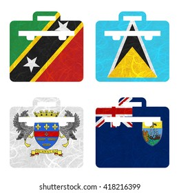 Nation Flag. Bag recycled paper on white background. ( Saint Barthelemy , Saint Helena , Saint Kitts and Nevis , Saint Lucia )