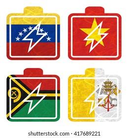 Nation Flag. Battery recycled paper on white background. ( Vanuatu , Vatican City State , Venezuela , Vietnam )