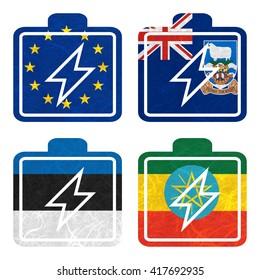 Nation Flag. Battery recycled paper on white background. ( Estonia , Ethiopia , European Union , Falkland Islands )