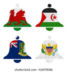 Nation Flag. Bell recycled paper on white background. ( Virgin Islands - UK , Virgin Islands - US , Wales , Western Sahara )
