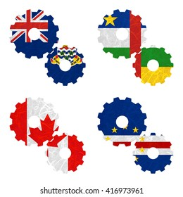 Nation Flag. Gear recycled paper on white background. ( Canada , Cape Verde , Cayman Islands , Central African Republic )